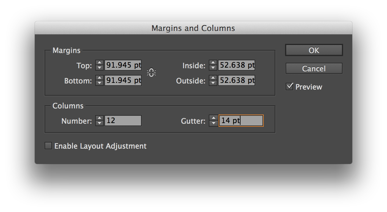 margins for the baseline grid